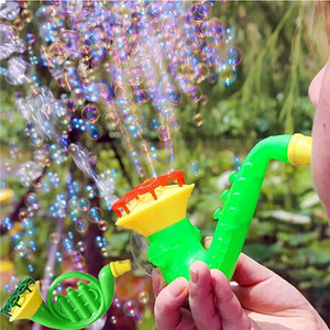 2018 Water Blowing Toys Random Color Bubble Gun Soap Bubble Blower Outdoor Child Toys New Creative polyporous Wedding Machine(China)