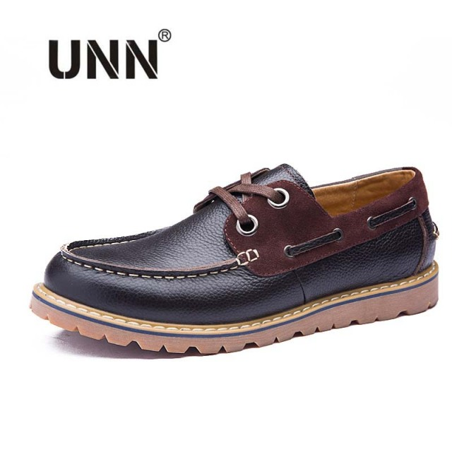2016 Fashion British Style Men Genuine Leather Boat Shoes Lace Up Handmade Mens Casual Flats Shoes Brown Blue