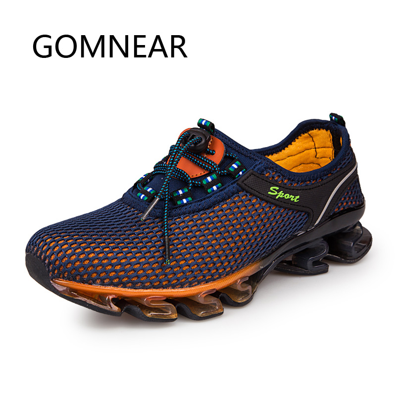 GOMNEAR Man Mesh Running Shoes Outdoor Athletic Pustande Running Shoes Jogging Sneaker Blade Turism Trekking Skor Sport Män