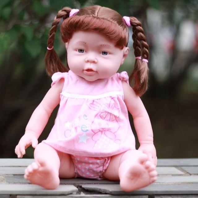 41CM Baby Kids Reborn Baby Doll Soft Vinyl Silicone Lifelike braid girl doll Newborn Baby Toy for Boys Girls Birthday Gift