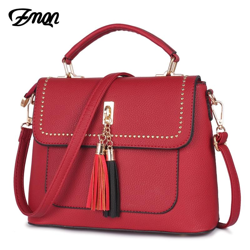 ZMQN Women Crossbody Bags Handbags For Women Famous Brand Tassel Rivet Bags Ladies Leather High Quality Fashion Summer Bags B514