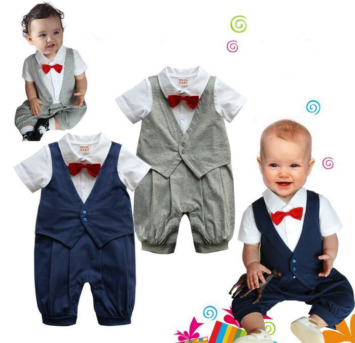 Free Shipping 3sets/lot Baby Boy's Formal Romper