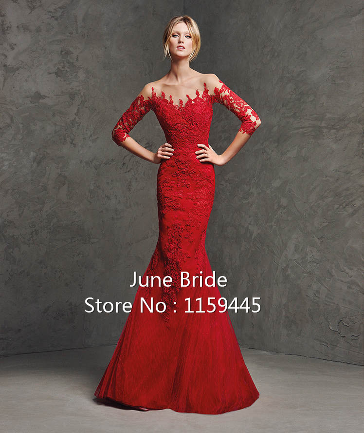 Aliexpress.com : Buy New Arrival Red Lace Wedding Dresses 3/4 ...