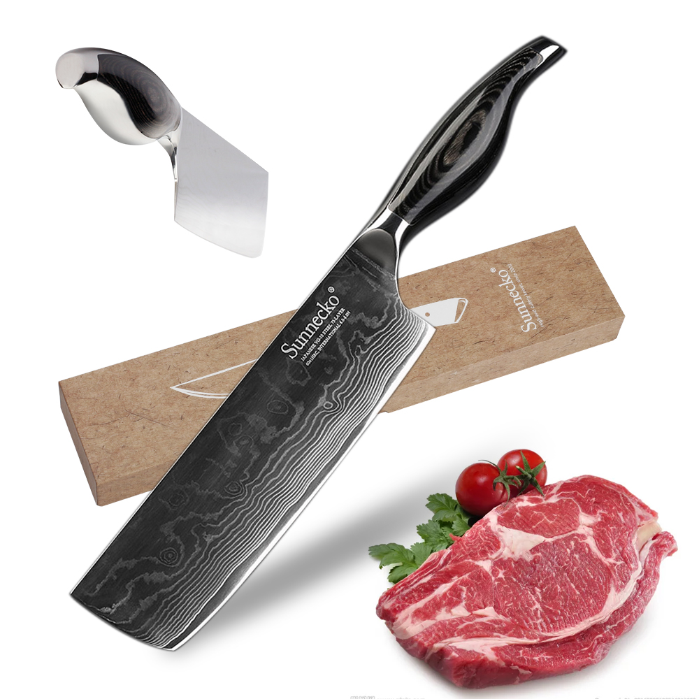 SUNNECKO 7 inch Cleaver Chef Knife Kitchen Knives Damascus VG10 Steel Razor Sharp 60HRC Blade Cutter Tools Pakka Wood HandleSUNNECKO 7 inch Cleaver Chef Knife Kitchen Knives Damascus VG10 Steel Razor Sharp 60HRC Blade Cutter Tools Pakka Wood Handle