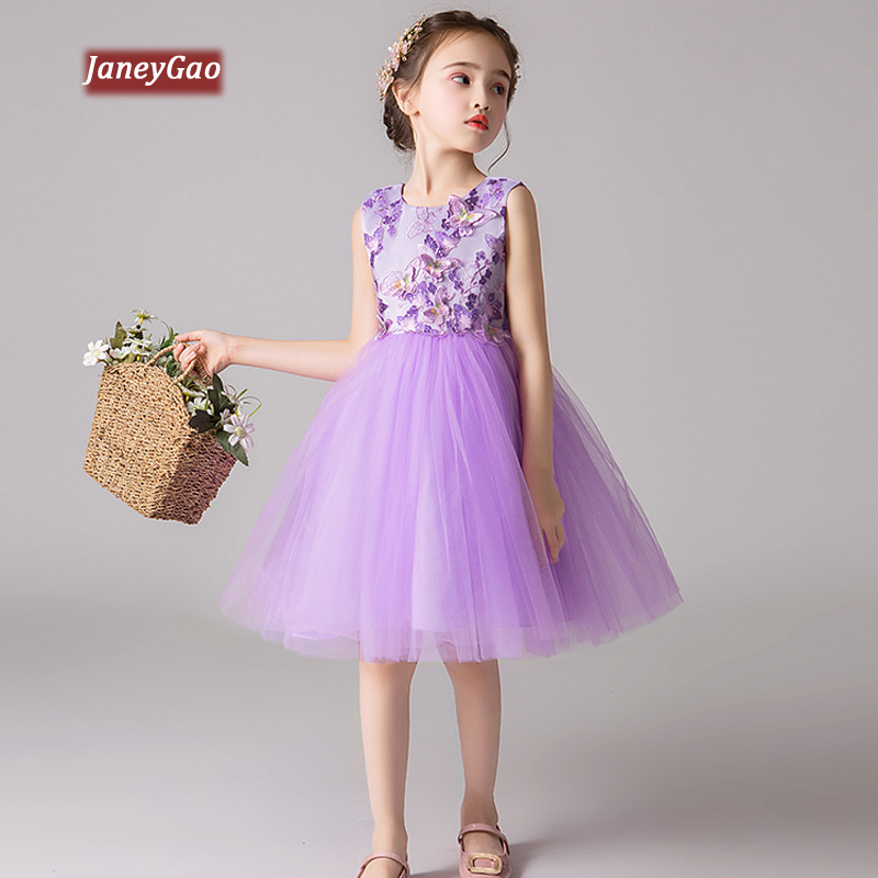 JaneyGao   Flower     Girl     Dresses   For Wedding Party Kids Formal Gown Children Summer Birthday Party   Dresses   Purple Blue 2019 New