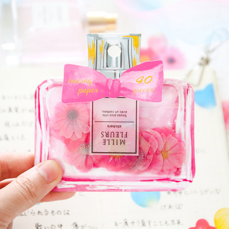 40 Sheets / Bag Japanese-Style Bow Perfume Bottle Sticker Bag Creative Petals Daisies Flaky Particles Decorative Album Notebook(China)