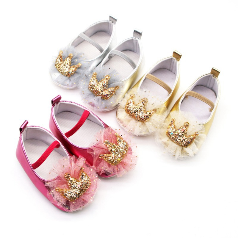 Princess-Shoes Anti-Slip Baby-Girl Mesh Crown Cute Soft for 0-18-Months Shiny
