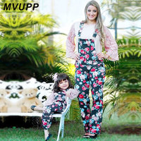 MVUPP Mother And Daughter Clothes Suspender Trousers Family Clothing Floral Rome Print Bib Pants Mommy And