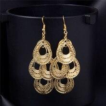 SHUANGR Fashion Hollow Waterdrop Drop Earrings For Women Brincos Pendientes Gold-color Dangle Earrings Dubai Golden Jewelry