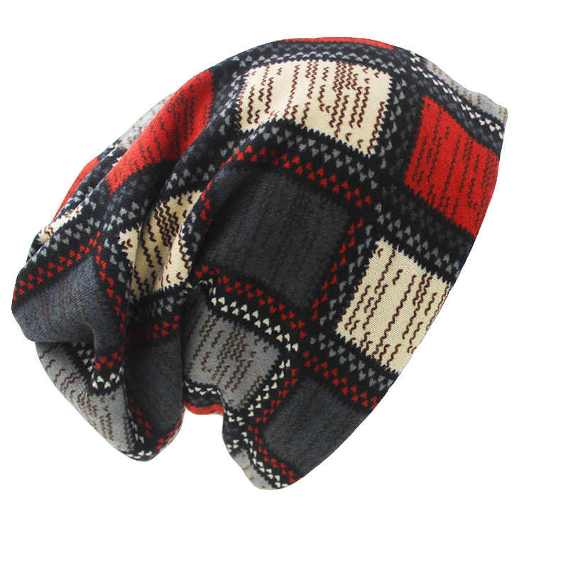 LOVINGSHA marka sonbahar kış şapka kadınlar için ekose tasarım kontrast renk bayanlar şapka Skullies ve Beanies şapka Unisex HT022