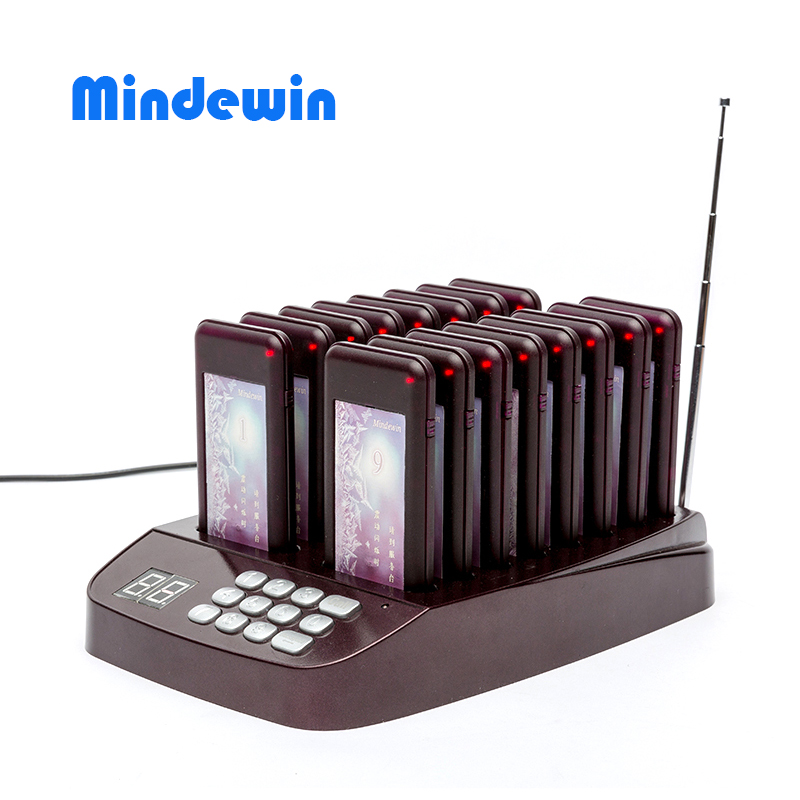 Mindewin 2017 Super Match Coaster Paging System M-T-1 Wireless Queue Waiter Calling System Wireless Restaurant Pager System 2 receivers 60 buzzers wireless restaurant buzzer caller table call calling button waiter pager system