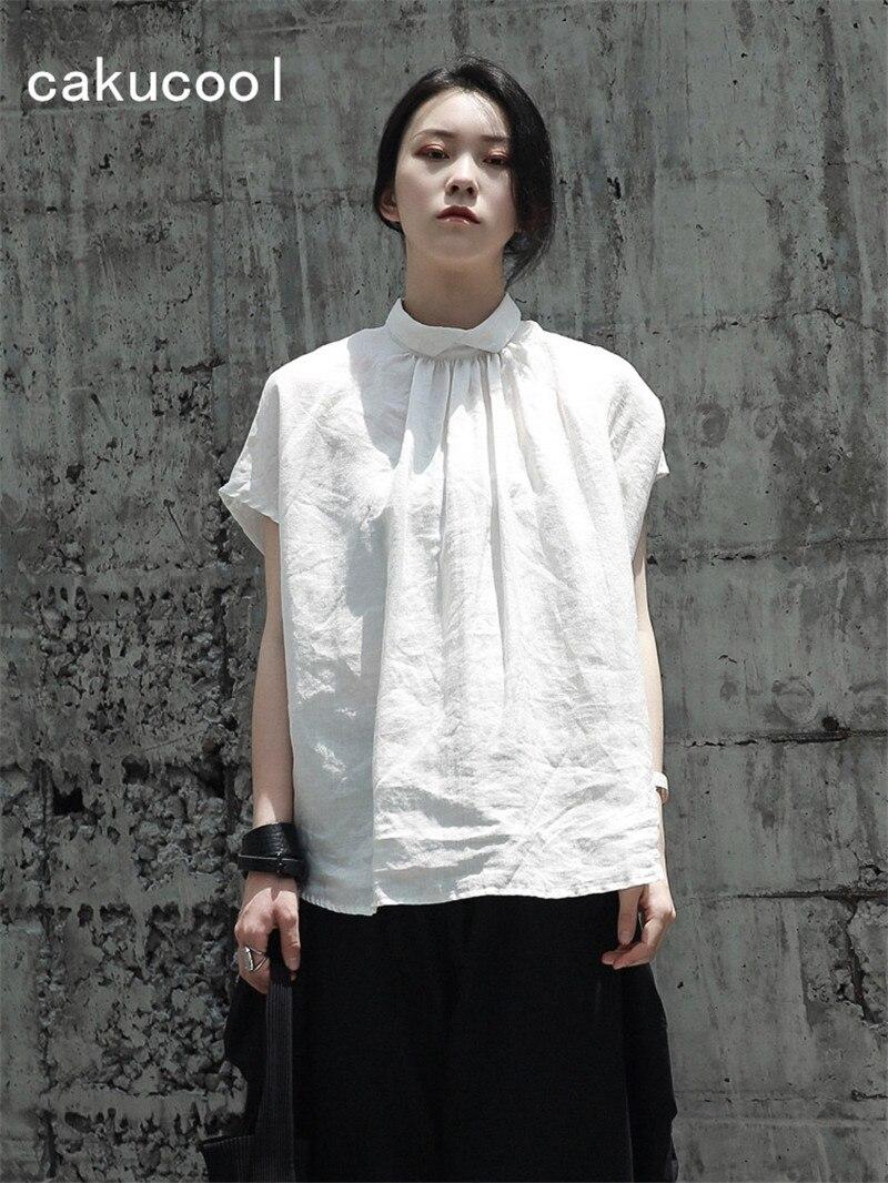 Cakucool New Blouse Women Linen Harajuku Japanese Design Summer Loose Short Sleeve Blusas Pullover White Black