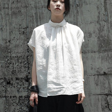 9d71ab1c9288f6 Cakucool Blouse Women Linen Harajuku Japanese Design Summer Loose Short  Sleeve