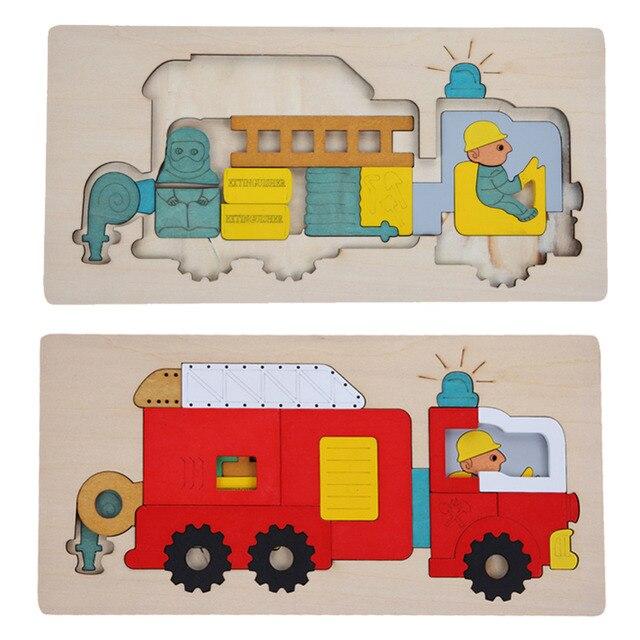 Дети Многослойные Деревянные Головоломки Игрушки Раннее Образование 3D Головоломки История Мультфильм Пожарный автомобиль Головоломка Для Детей Подарок