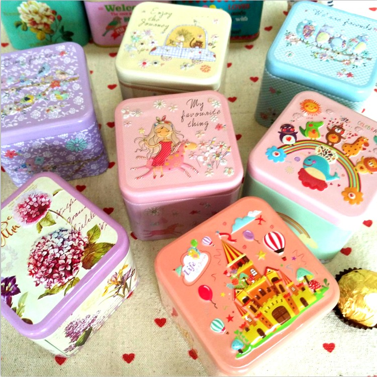 Exquisite 3D Relief Jewelry Small Accessories Box Souvenir Children Gift Tin box Kitchen Tea Coffee Storage