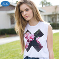 Sea-mao 2017 Harajuku Floral X Muscle Pattern Printing Casual White Tanks Women Crop Tops Summer Style Camis Tops female tank