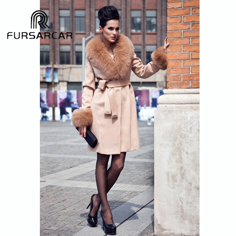 FURSARCAR Top Quality Women Real Fur Coat Luxury Sheepskin Coat With Fox Fur Collar And Cuff Winter New Style Fashion Fur Coat