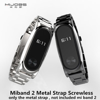 Smarcent Screwless Metal Wrist Strap For Original Xiaomi Mi band 2 OLED Display Smart Bracelet Wristbands Black Silver Two Color