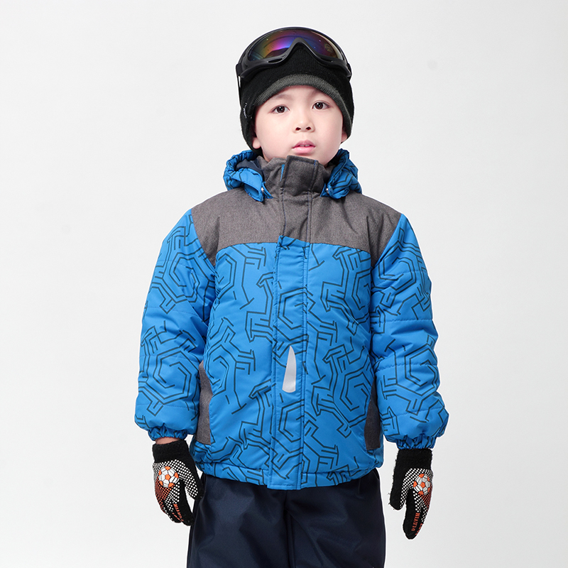 Moomin boys winter coat 2017 new Polyester  Active Hooded Children Winter outwear Geometric Woven Blue warm free shipping