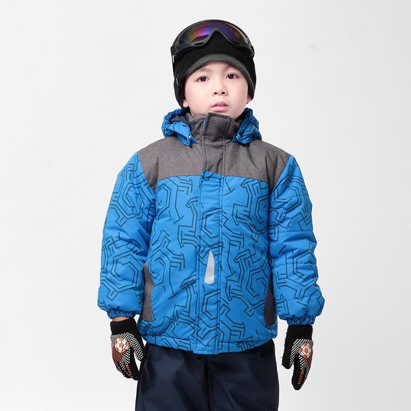 Moomin ұлдарының қысқы пальто 2017 жаңа полиэстер белсенді капюшонды балалар қысқы киімдер геометриялық матадан жасалған көк жылыту