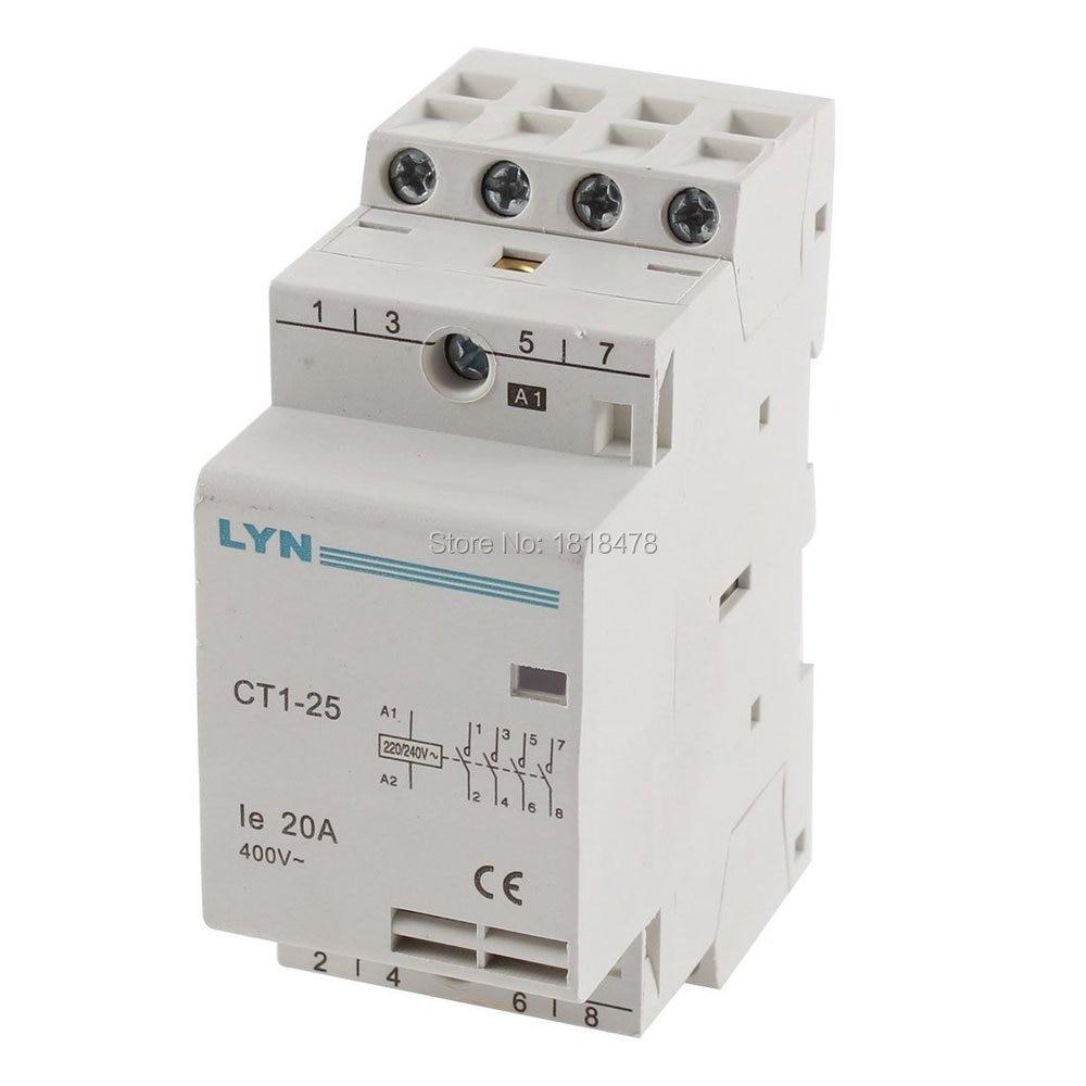 цена на CT1-25/4P Household 4 Pole AC Power Contactor Coil AC 220/240V Ie 20A