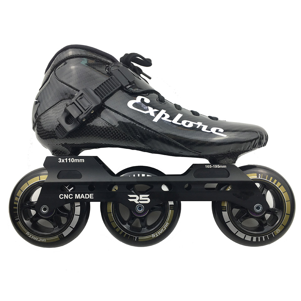 Carbon Fiberglass Inline Speed Skates For Kid Man Woman Racing Patines Train Street Shoes With 3*100 3x110mm wheels R5 Frame 002