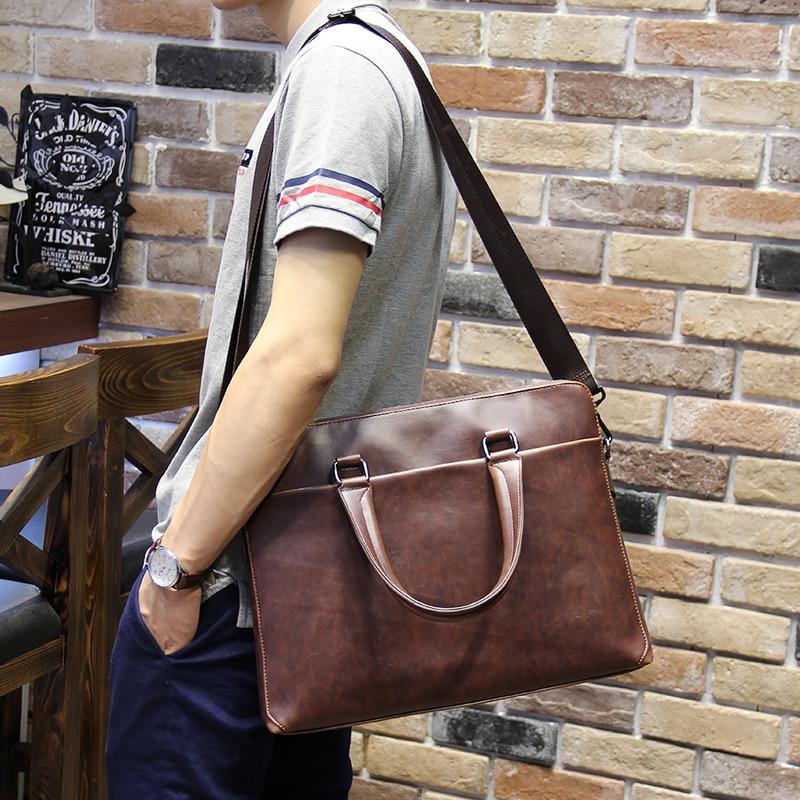 Crazy Horse PU Leather Men Bags Men's Vintage Messenger Crossbody Bag Shoulder Handbag Briefcase 14 Laptop Business Male Bag