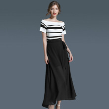 2017 Summer Stripe Tops And Skirt Suit Set Women's Two Piece Set Clothing Elegant Knitted T Shirt And Chiffon Long Skirt Sets