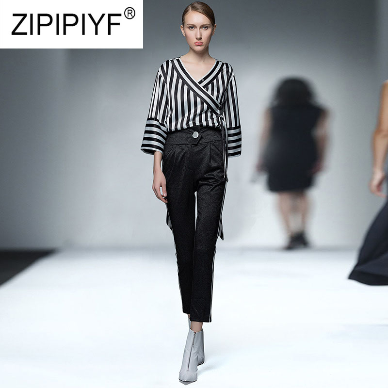 Fashion Women Sets Lady Long Sleeve V Neck Striped Blouse Bodycon Black Pencil Pants Female Elegant