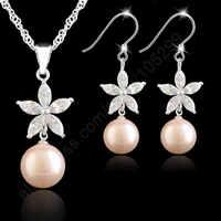 Ensembles de bijoux 925 bijoux en argent Sterling rose perle fleur cubique zircone collier boucle d'oreille ensemble singapour lien chaîne