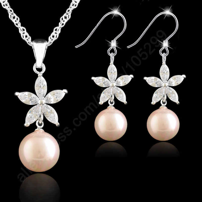 Jewelry Sets 925 Sterling Silver Jewelry Pink Pearl Flower Cubic Zirconia Necklace Earring Set Singapore Link Chain