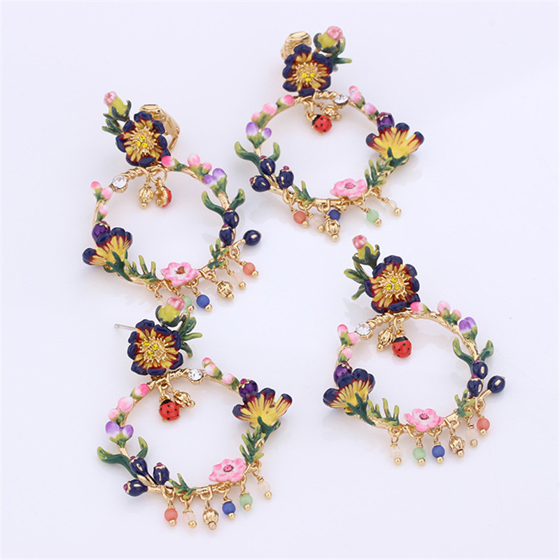 Warmhome Trendy Jewelry Enamel Glaze Monet Gardens Trendy Various Flower Gem Necklace Earrings For Women Jewelry chic ellipse shape faux gem flower earrings for women