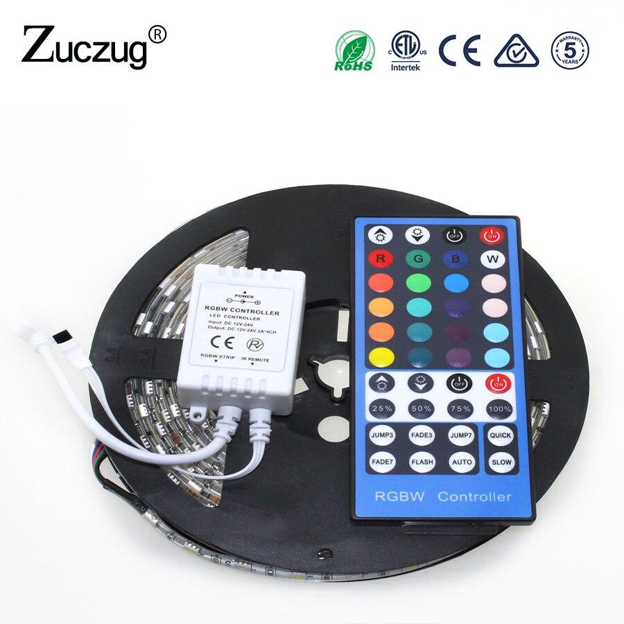 LED sloksne SMD 5050 RGB silta balta ūdensnecaurlaidīga 5m 40Key IR tālvadības pults DC12V 60LED / m RGBW RGBWW Elastīga LED gaismas komplekts