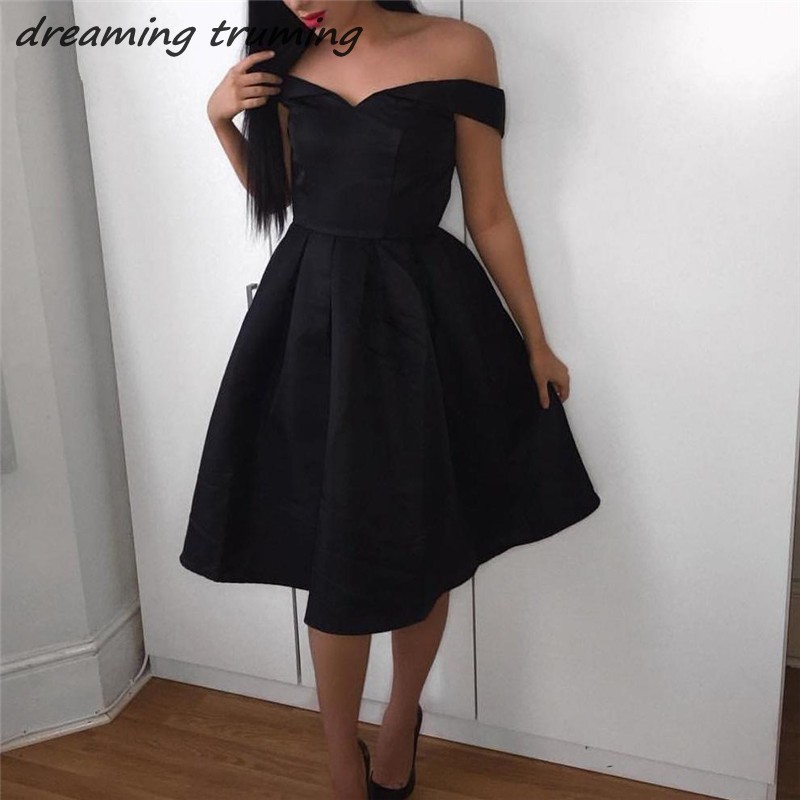Robe   Cocktail     Dresses   Little Black   Dress   Simple Cheap Prom Party   Dresses   Satin Backless Gowns for Graduation 2019 Custom Made