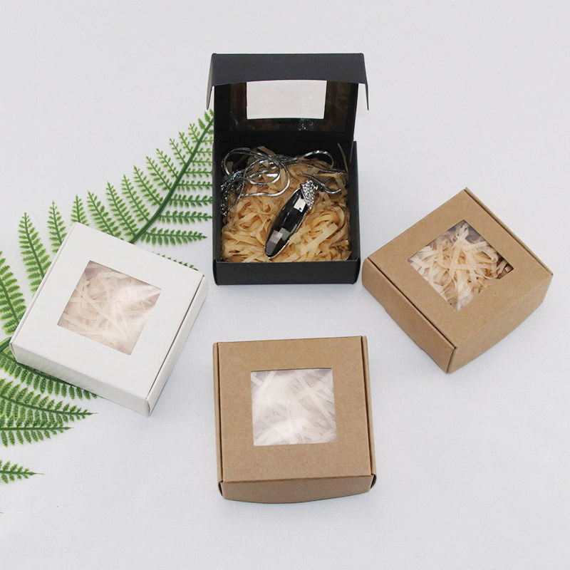 Image 2 - 50Pcs Kraft Paper Candy Box Transparent PVC Window Soap Box Wedding Birthday Christmas Baby Shower Chocolate Gift Packaging BoxGift Bags & Wrapping Supplies   -