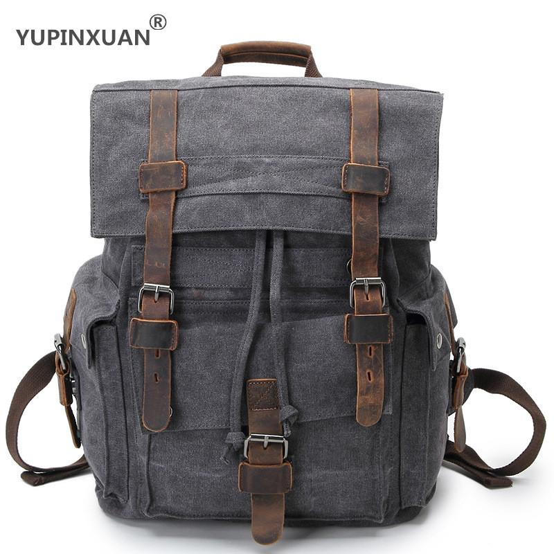 YUPINXUAN Europe Vintage Canvas Backpacks Unisex Strings and Rivets Daypacks for Teenagers Mochilas Estudiantes Gran Capacidad
