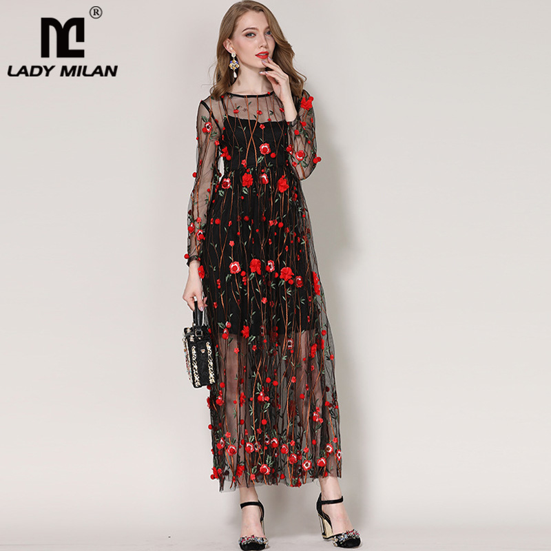 Lady Milan 2018 Womens O Neck Long Sleeves Embroidery Appliques Elegant Maxi Designer Runway Dresses
