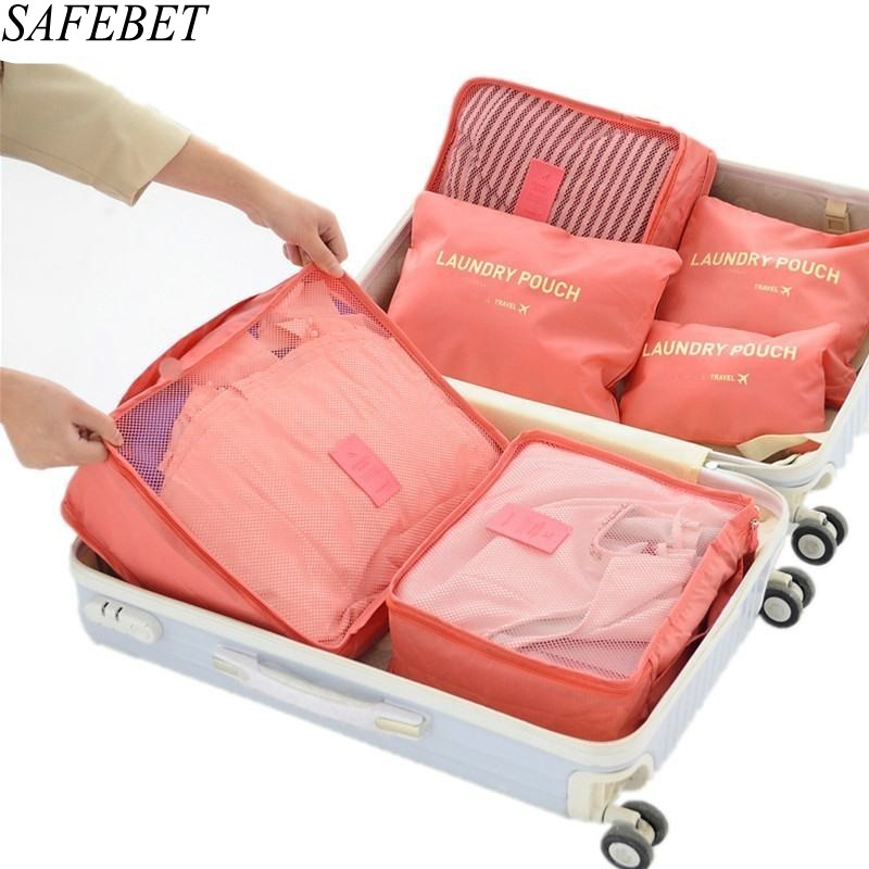 SAFEBET Brand 6PCS/Set High Quality Waterproof Portable Organizer Bag Travel Packing Oxford Travel Mesh Bag In Bag Multifunction