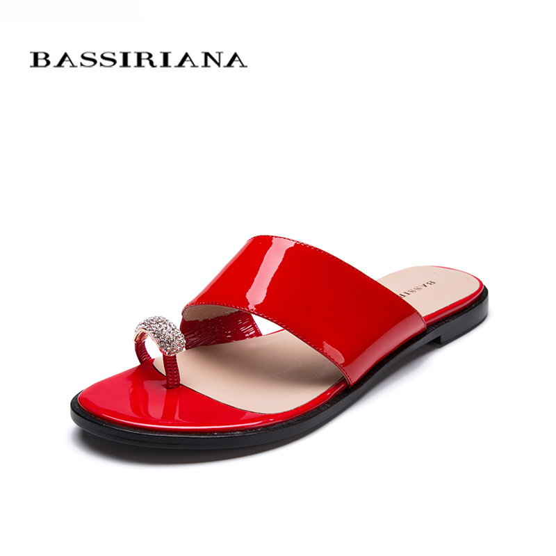 Shoes woman genuine leather Summer 2017 Red Black White patent leather Outside slippers sandals 35-41 Free shipping BASSIRIANA free shipping 2016 summer patent leather square med heels sandals cover heel red black big size 33 40 41 42 43 woman shoes