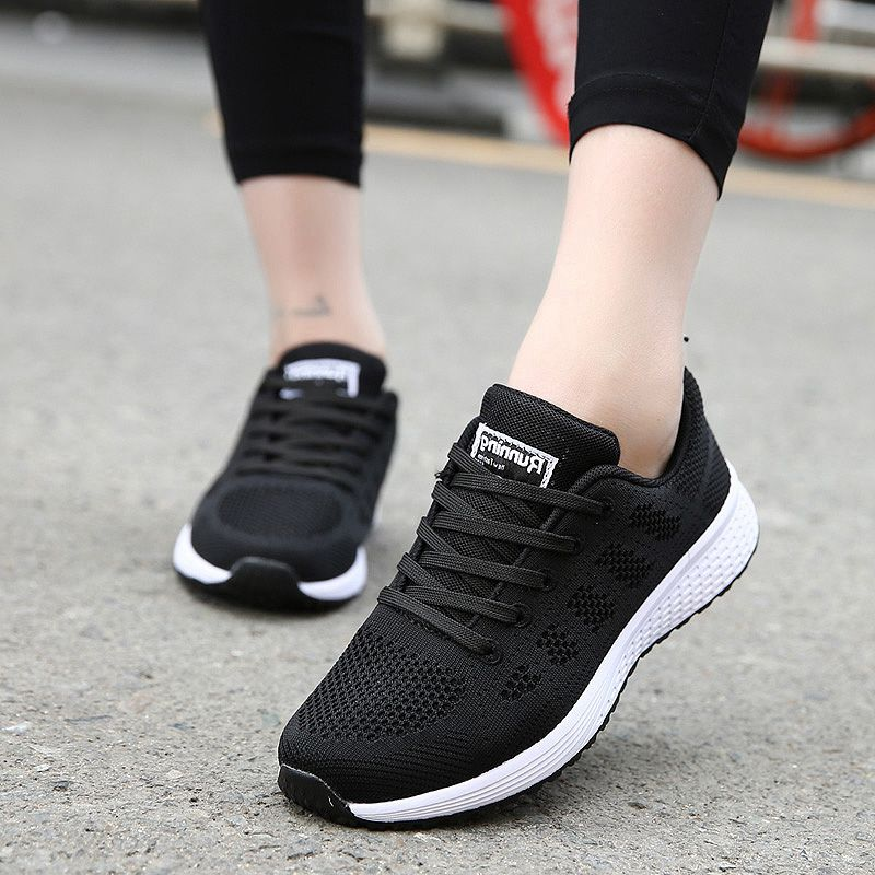 Sneakers Shoes Woman Sport Shoe Lace-Up Mesh Round Cross Strap Ladies Flat Sneakers Running Shoes Casual Women Shoes Comfortable(China)