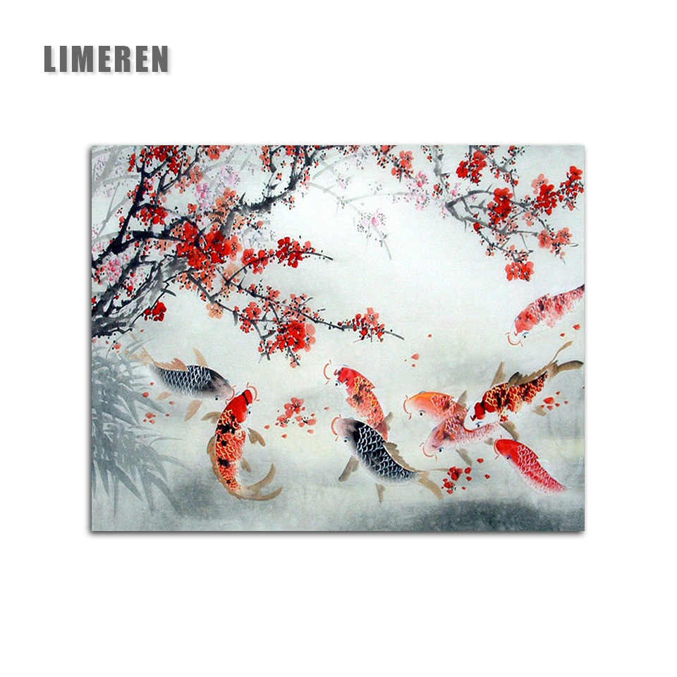Chinese Lucky Koi Plum Red Flower Pintura Modular Digital Oil Painting Colors By Number On Canvas For Living Room Wall Art