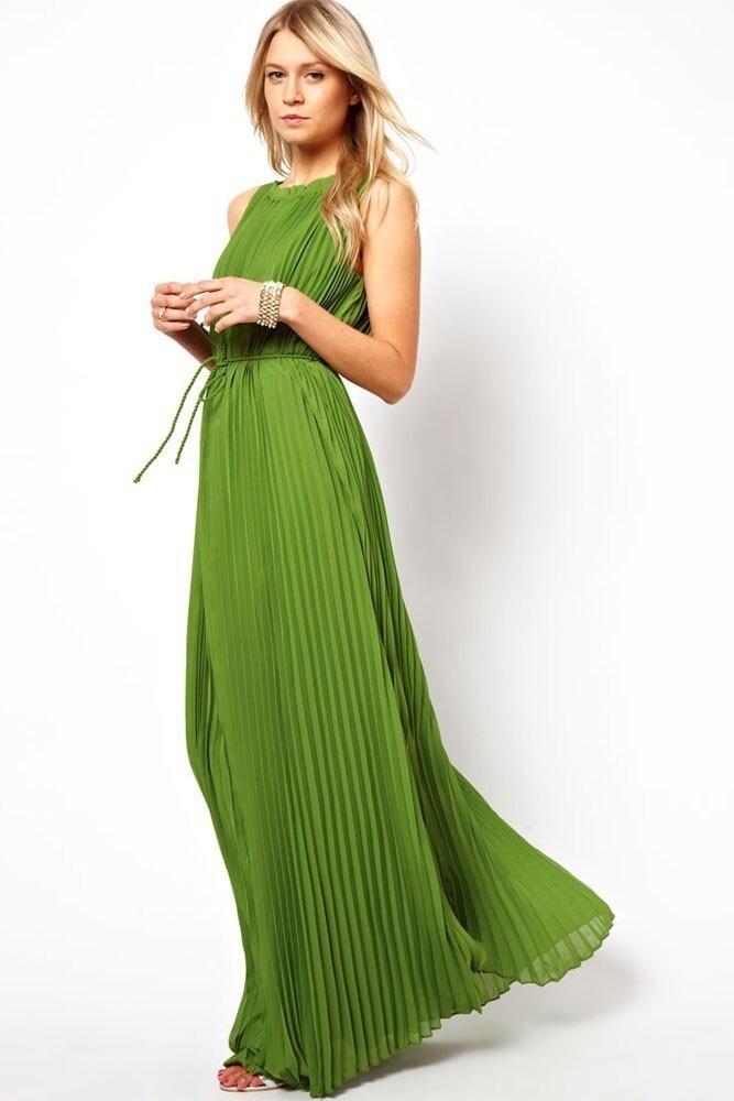 39f50bbc79966 Belva Pleated Dress Dark Green Pleated Skirt Sleeveless Maternity ...