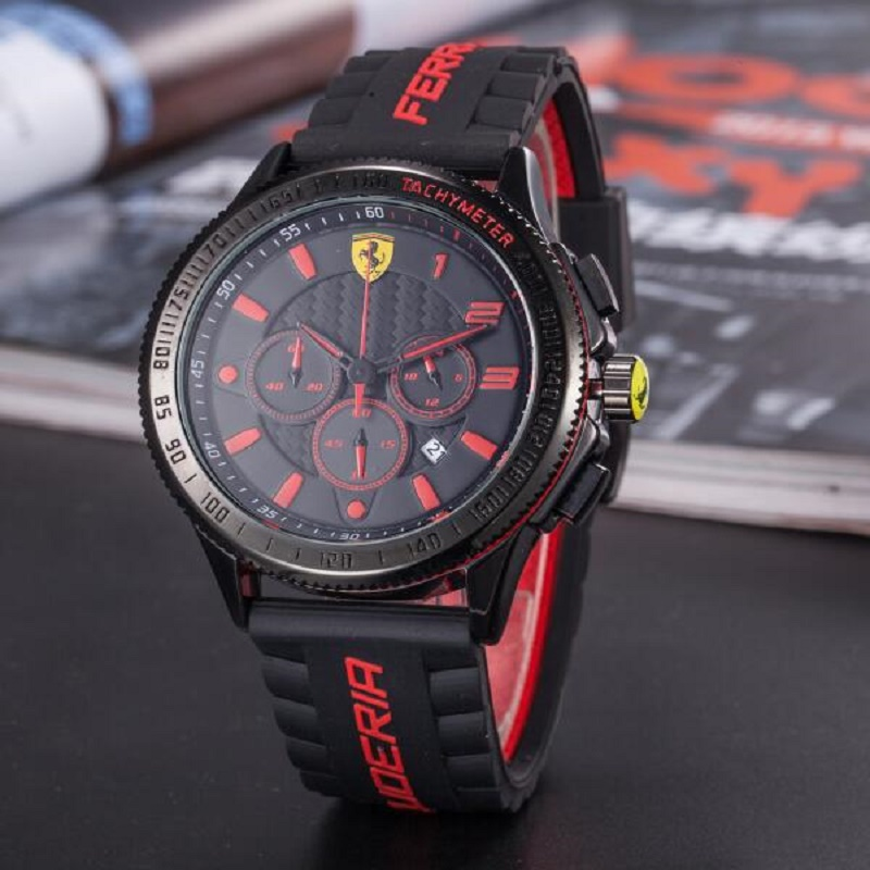 SCUDERIA FERRARI Sport Quartz Watch Luminous for Men Fashion Outdoor Watches Multifunction Calendar Clock 12 Colors 836599723 фотоаппарат canon eos 200d kit ef s 18 55 mm f 4 5 6 is stm white