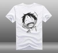 Anime One Piece Monkey D Luffy T-Shirt Bianco Mens Casual In Cotone O-Collo Manica Corta Tee Shirts Abbigliamento