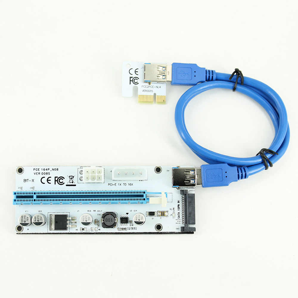 008 S משכימי PCIe PCI-E PCI Express Riser כרטיס 1X 4x 8x 16x USB 3.0 נתונים כבל 4 פינים 6 פין SATA אספקת חשמל עבור BTC כורה 10 pcs