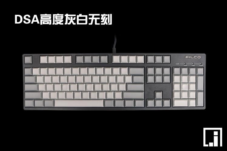 DSA PBT keycap vitgrå retro blank keycap mekaniskt tangentbord 108 keyboard poker