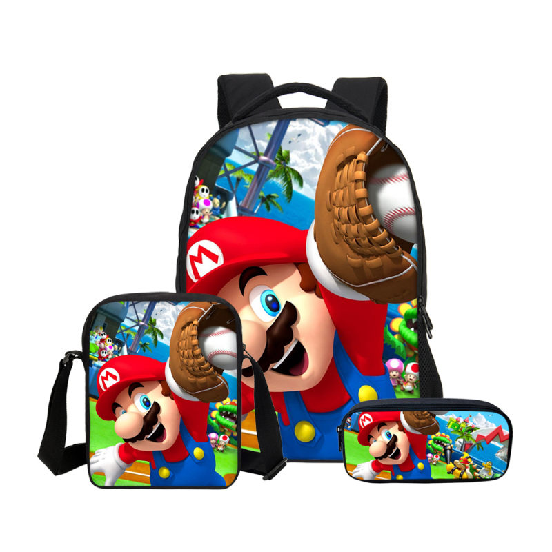 Brand 3Pc Set School Bag For Boys Girls Fashion Cartoon Super Mario Printing School Bag Kids