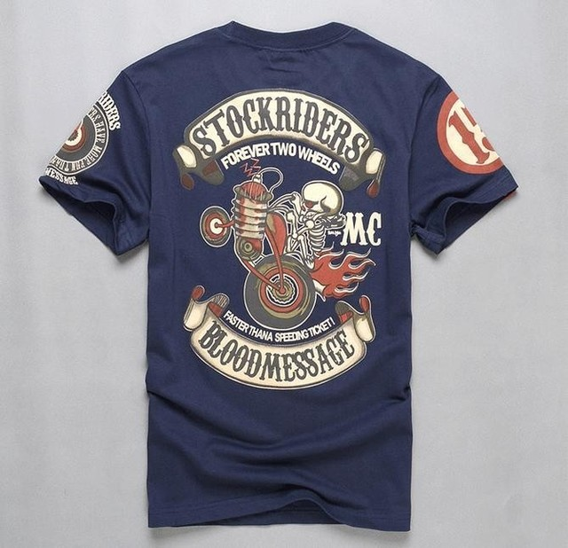 T Shirt With Skull Design | Men S Printing Short Sleeve T Shirts Slim Fitted Hip Rock Motorcycle