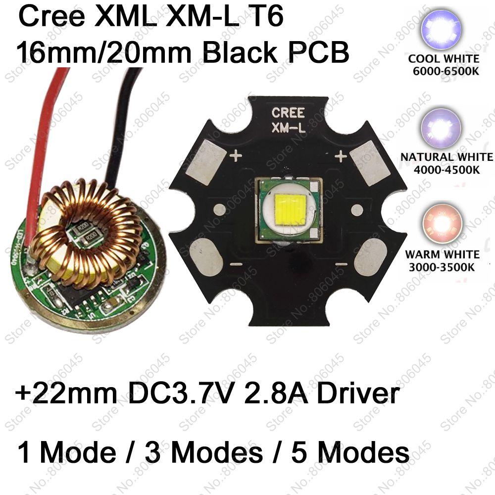 Cree XM L T6 10W LED Emitter Cool White Neutral White Warm White 16mm 20mm PCB