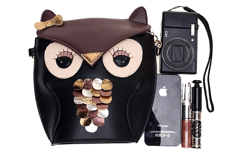 Owl Shoulder Bag PU Leather Creative Cute Mini Messenger Bag 2